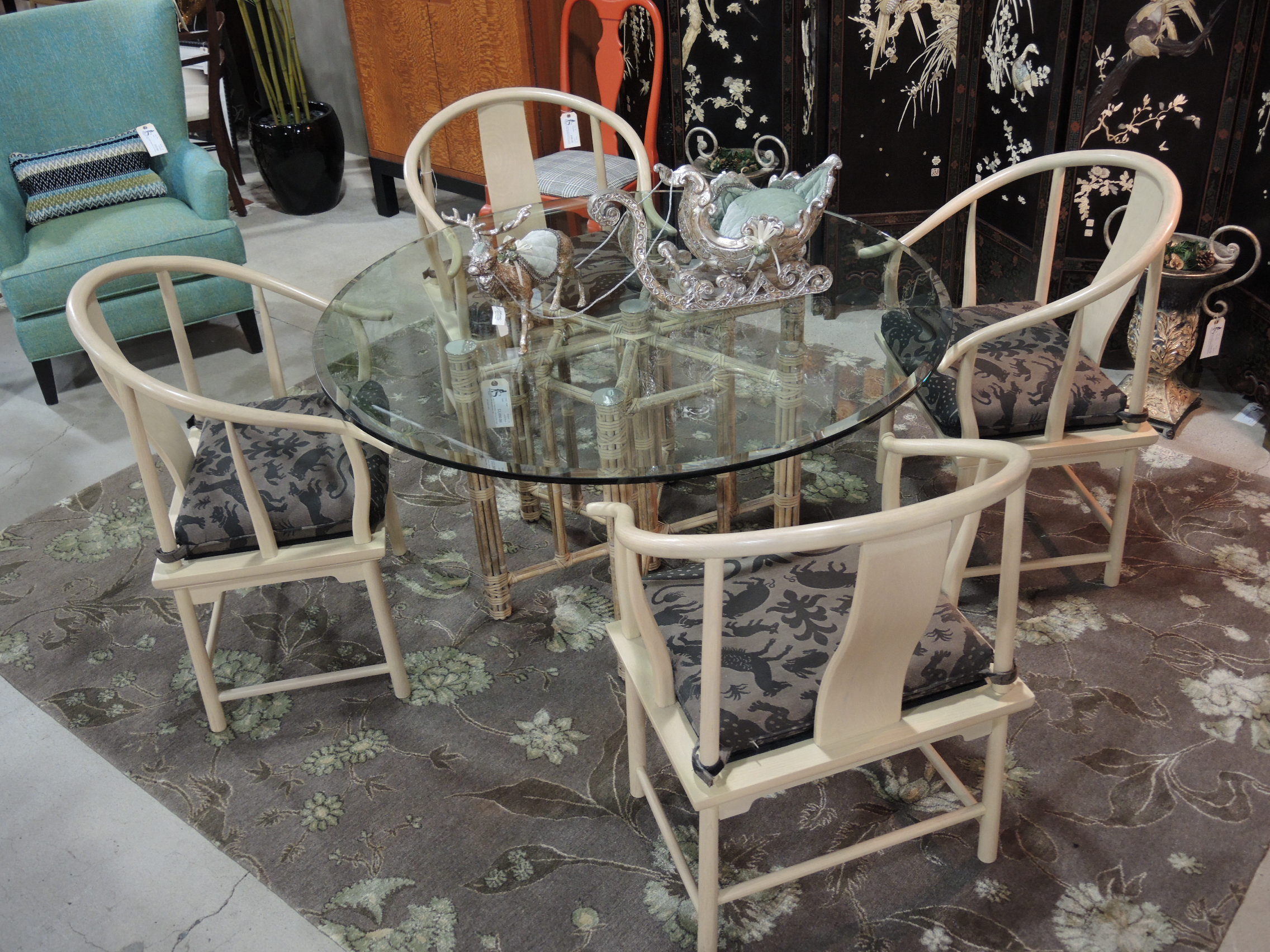 Glass Topped Mcguire Dining Table