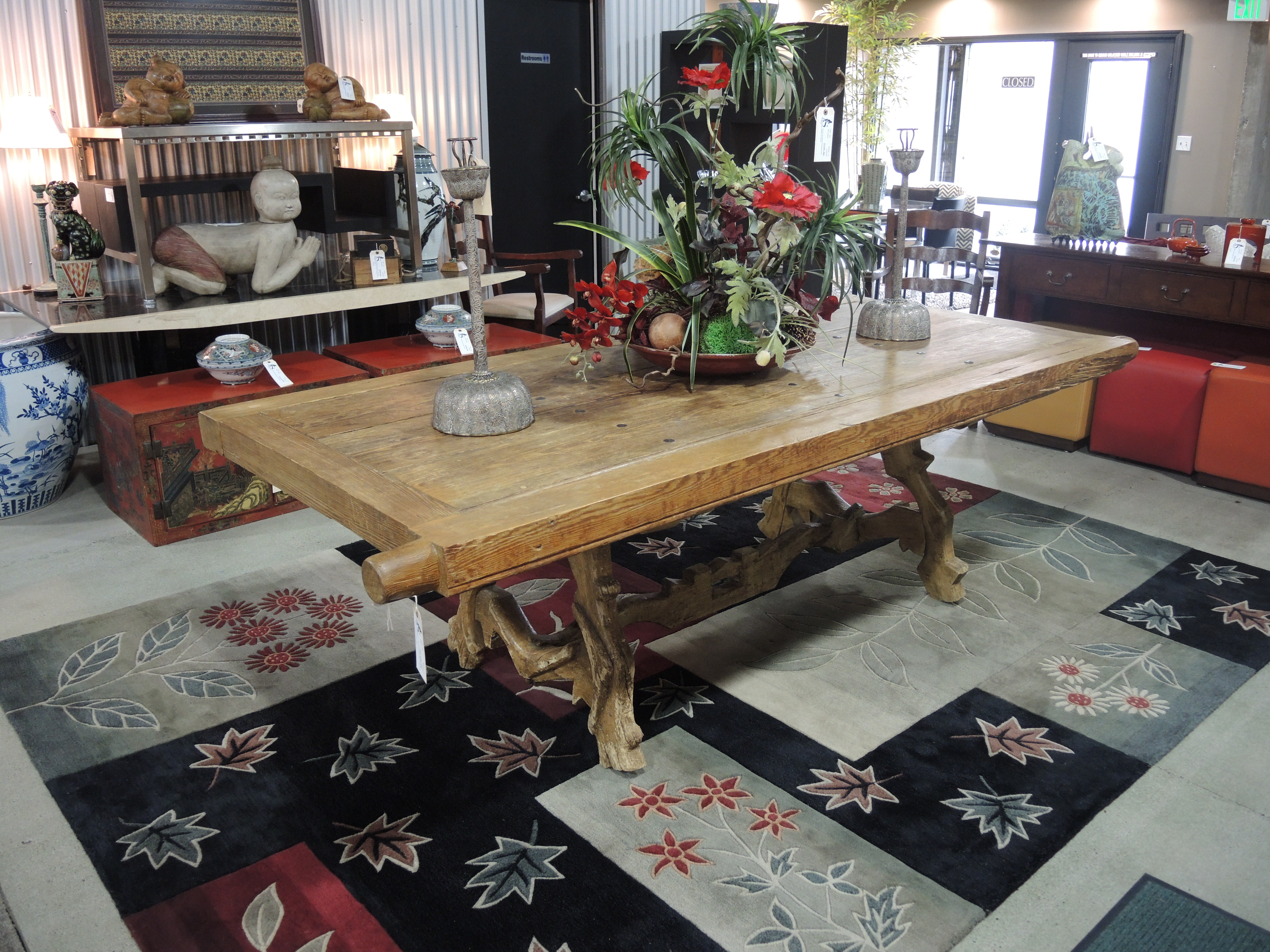 Dining table made from old door - Two Statement Pieces A Beautiful Old Door And An Oxen Yoke Come Together To Create This Magnificent Farm Table Sure To Bring A Conversation Out Of