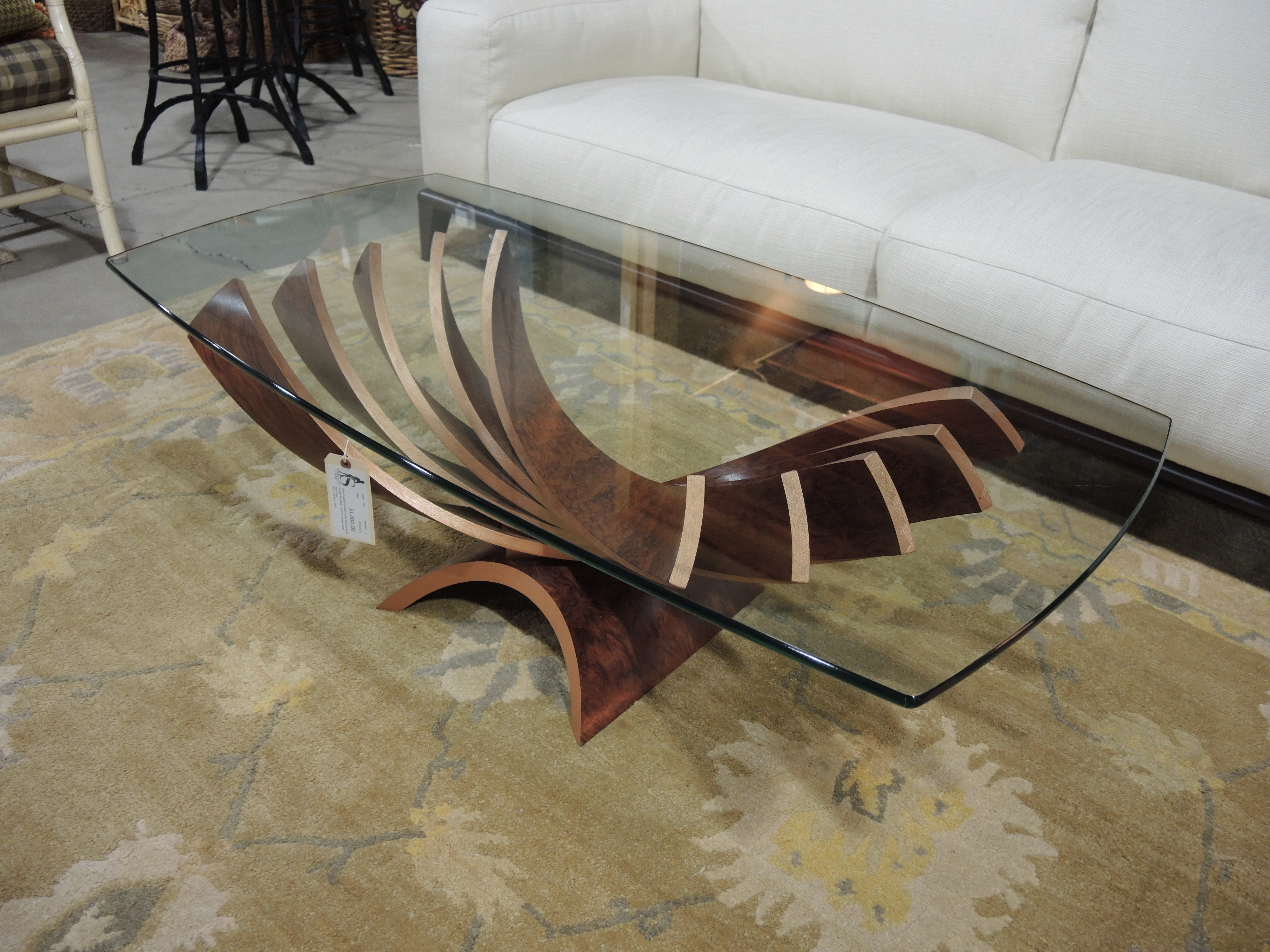 Handcrafted By A True Artist, We Have Received This Magnificent Glass Coffee  Table With Sleek, Bentwood U0027ribs.u0027 Straight From An Artisanu0027s Workshop In  ...