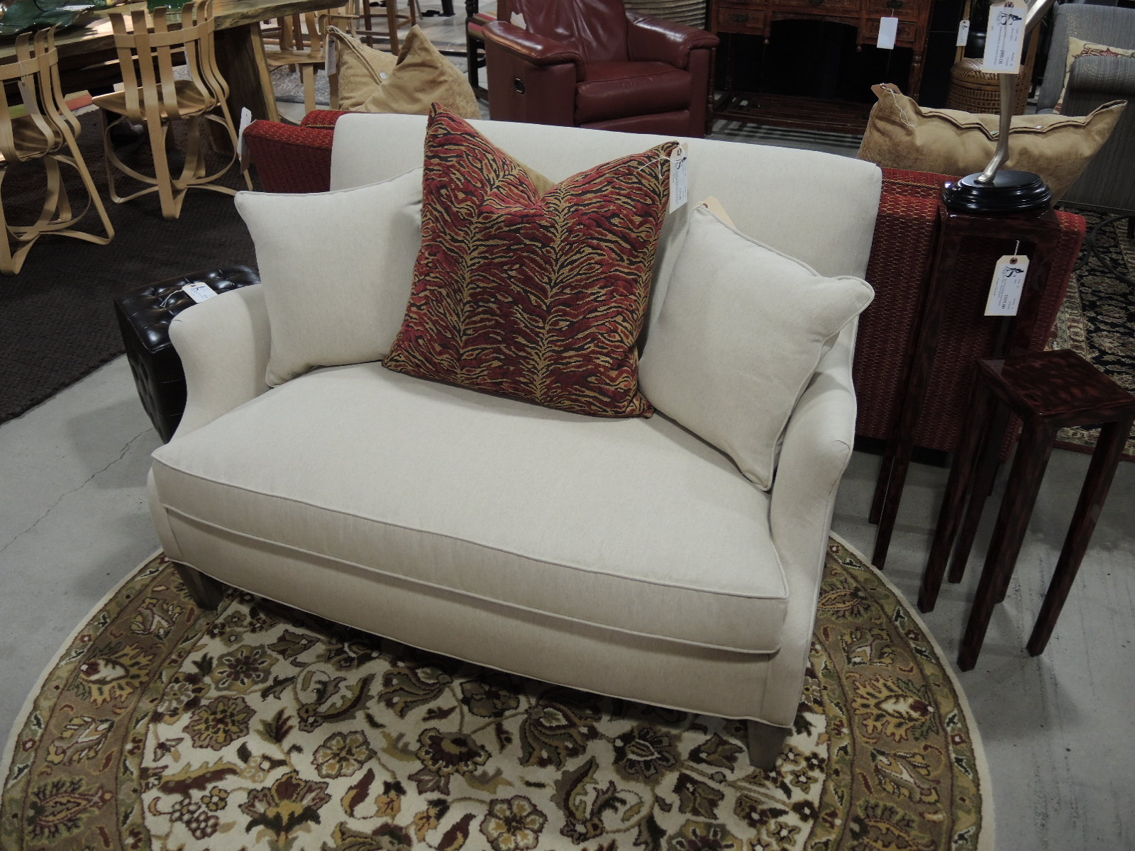 ballard designs seams to fit home brand new delivered to the showroom wrapped and crated we have this pristine hudson settee from ballard designs with down wrapped foam cushions