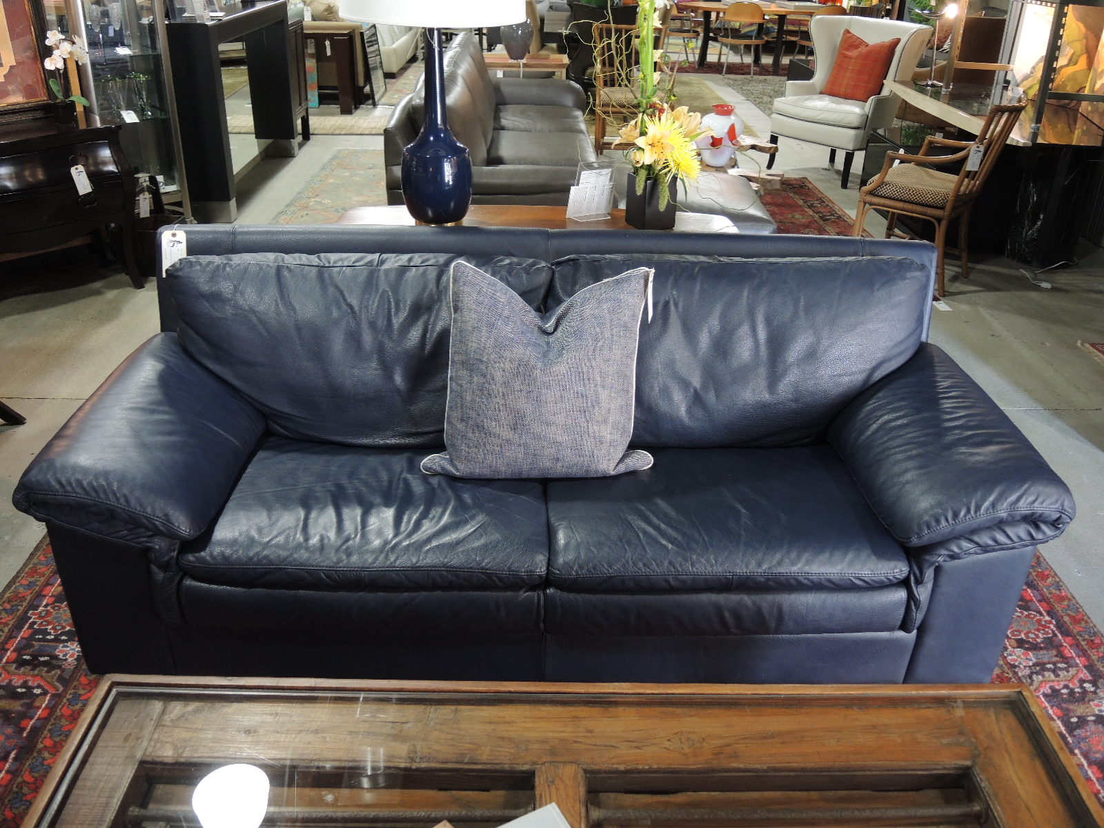 Custom Made In Chic Navy Leather At Hip Furniture, This Sofa Combines Smart  Luxury With Comfort. Measuring 81u2033W X 33u2033D X 33u2033H, We Have It Priced At ...