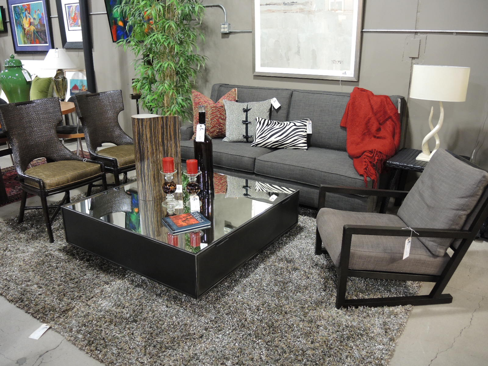 A Smart Charcoal Color And A High Back Silhouette Lend Sophistication To  This Petite Two Seat Sofa. Measuring 80u2033W X 38u2033D X 38u2033H, It Is Priced At  $795u2013SOLD.