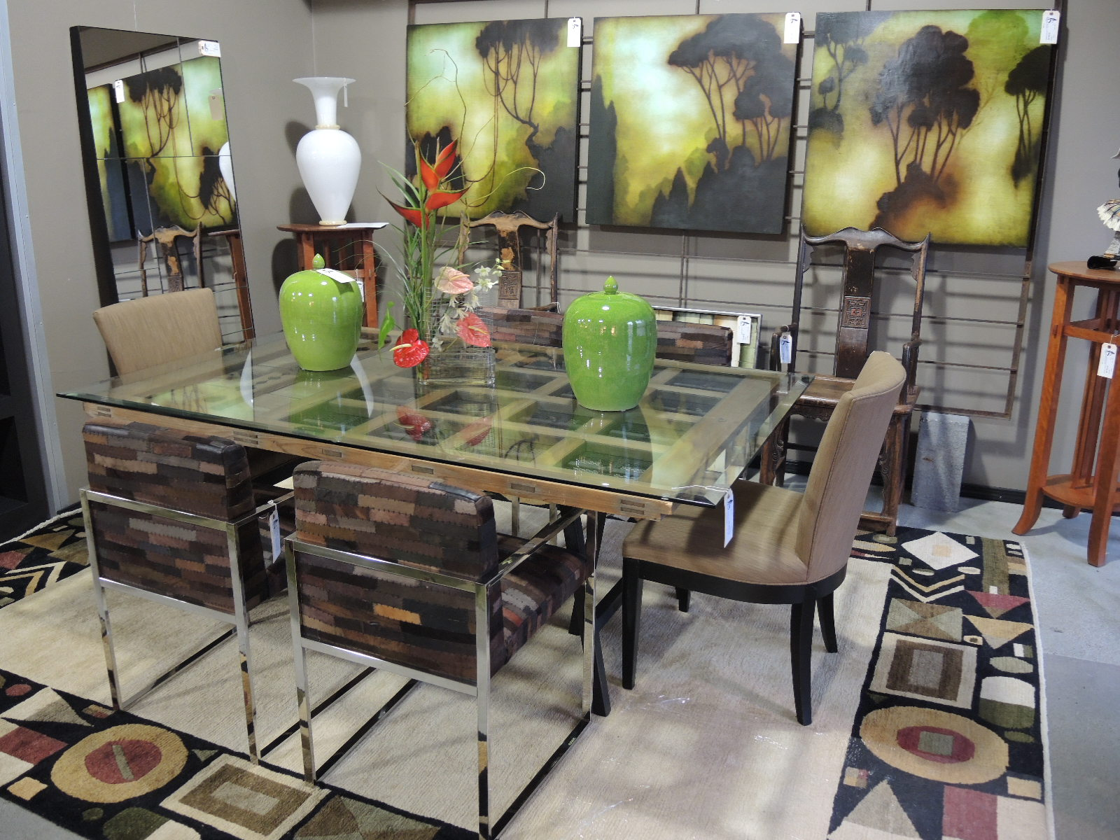 Custom Made From A Stunning Warehouse Wooden Door Mounted On Black Iron Base And Finished With 1 2 Inch Beveled Glass Surface This Dining Table Will