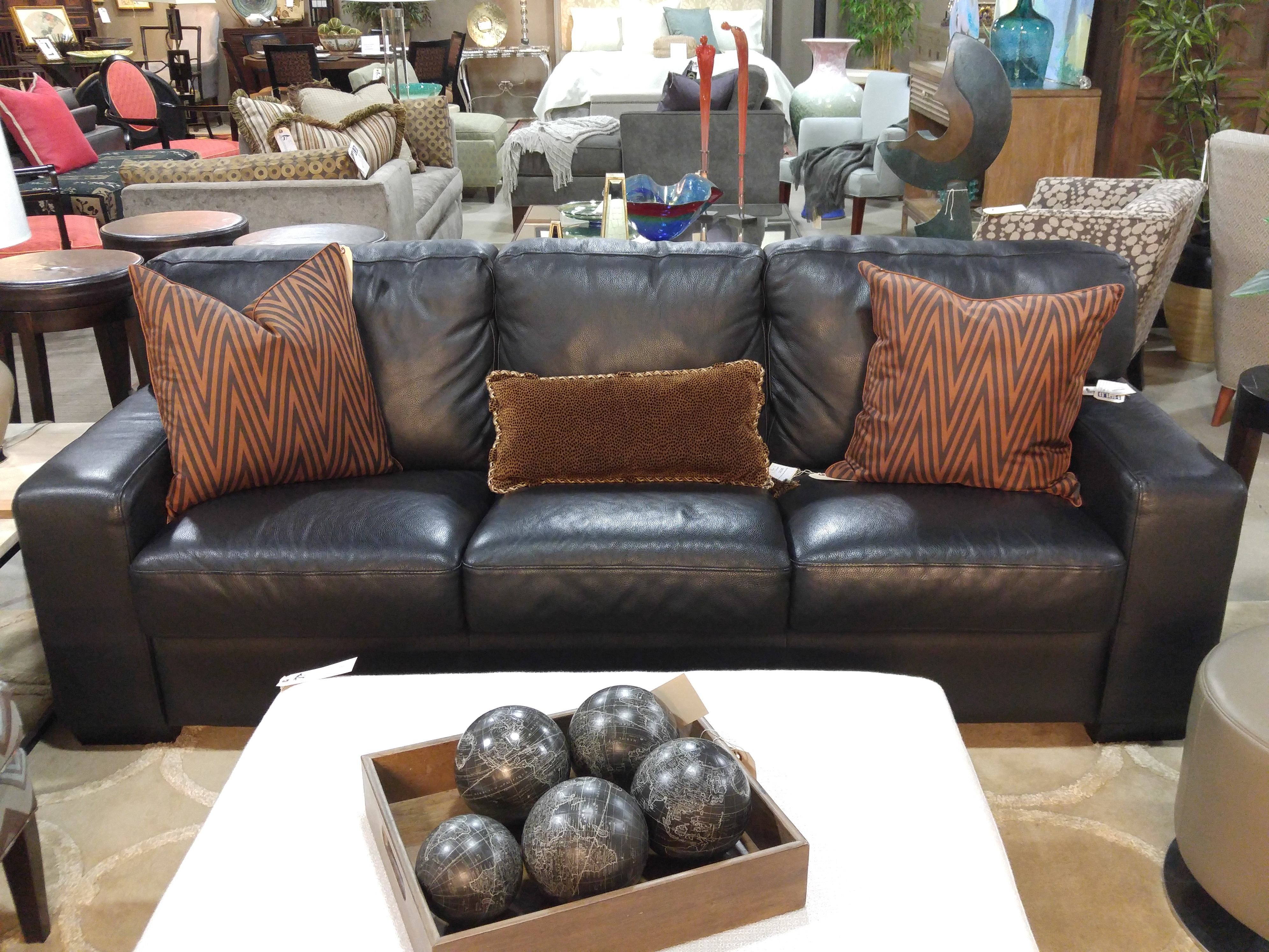 A Smart, Simple Black Leather Three Cushion Sofa From Dania Furniture  Starts Us Off Today. Squared, Track Arms And Plush Cushions Provide Comfort  And Style.