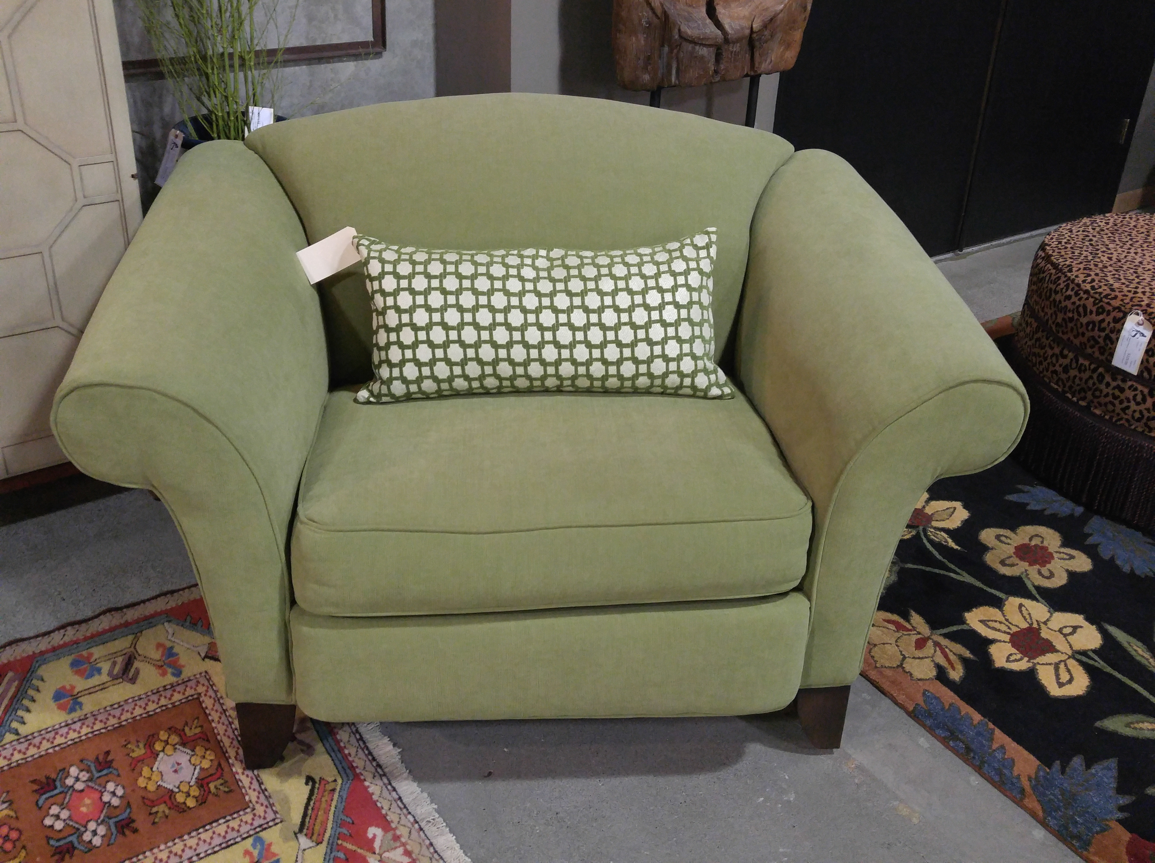 Charmant A Cozy Chair For Two Or A Spacious Reading Nook Option, Snuggle Up In This  Lime Green Brushed Canvas Oversized Chair With Rolled Arms And  Espresso Stained ...