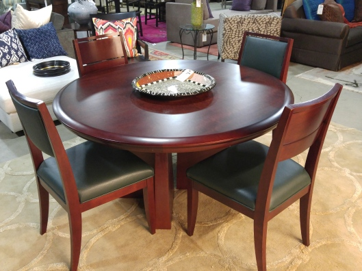 Finally We Have A Handsome Custom Dining Set From Altura With Smooth Cherry Wood Finish The Table Measures 54W And Chairs Feature Deep