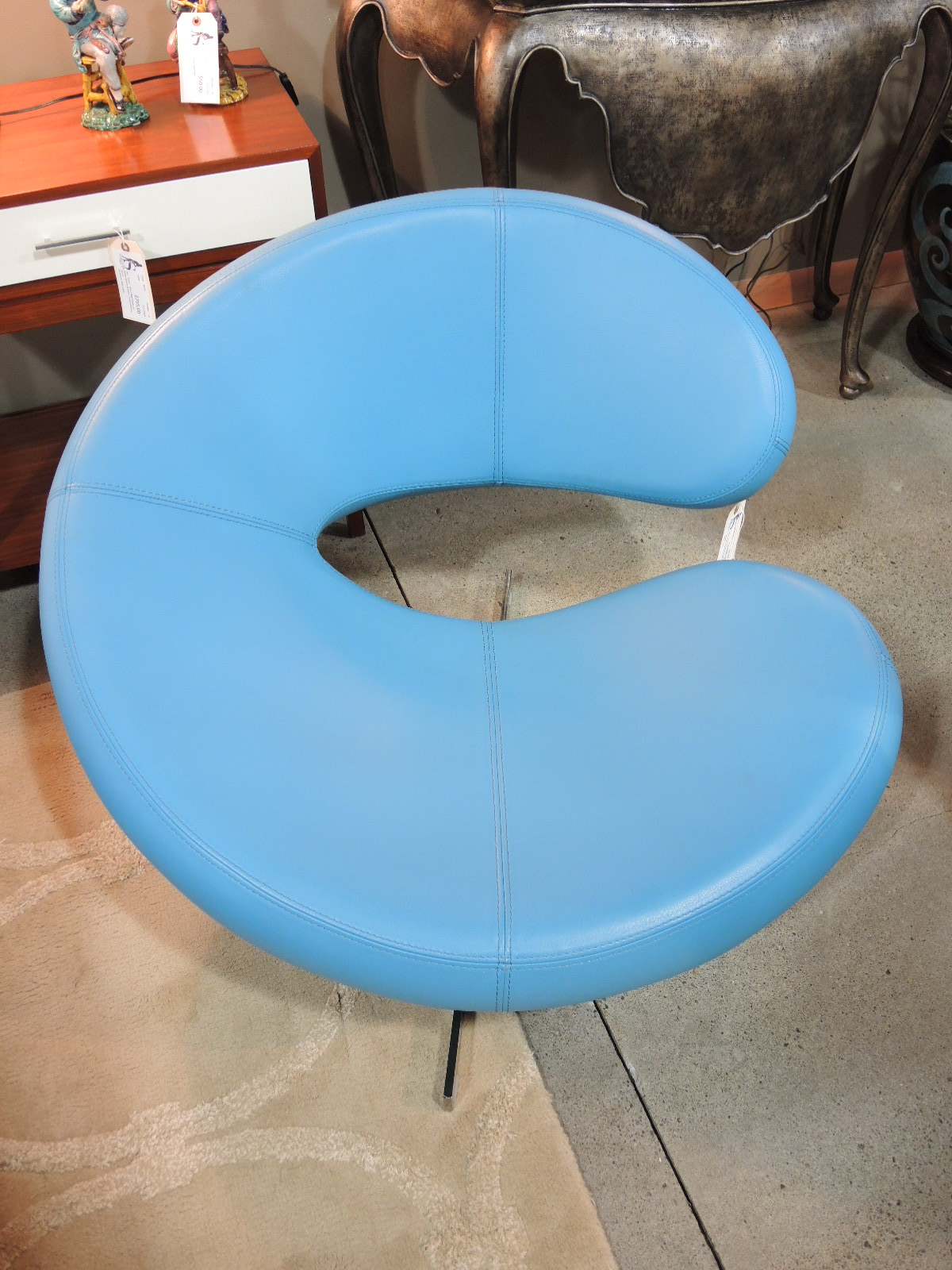 Robinu0027s Egg Blue Leather Roche Bobois U0027Centrou0027 Swivel Chair And Ottoman,  28u2033W X 31u2033D X 38u2033H, $1500u2013SOLD