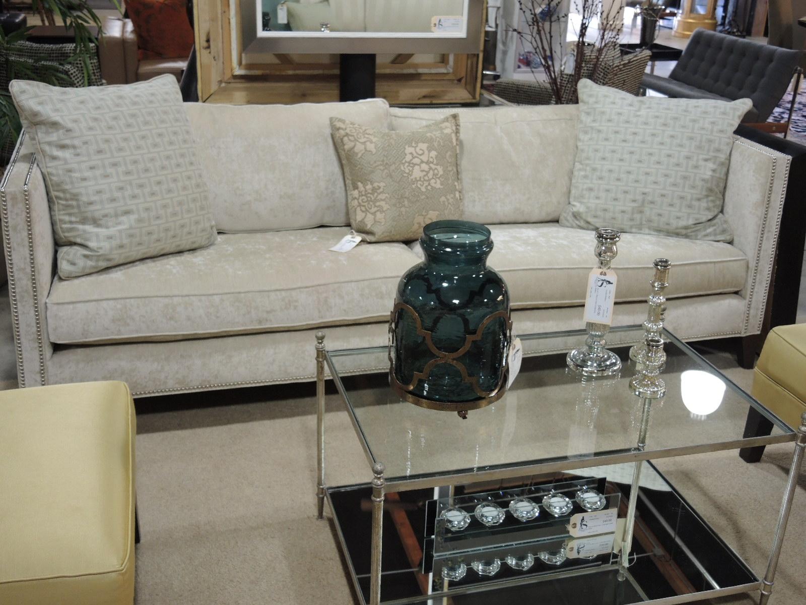 Cream Velvet Nailhead Sofa From Mitchell Gold/Bob Williams, 7u00278u2033W X 36u2033D X  30u2033H, $1700u2013SOLD