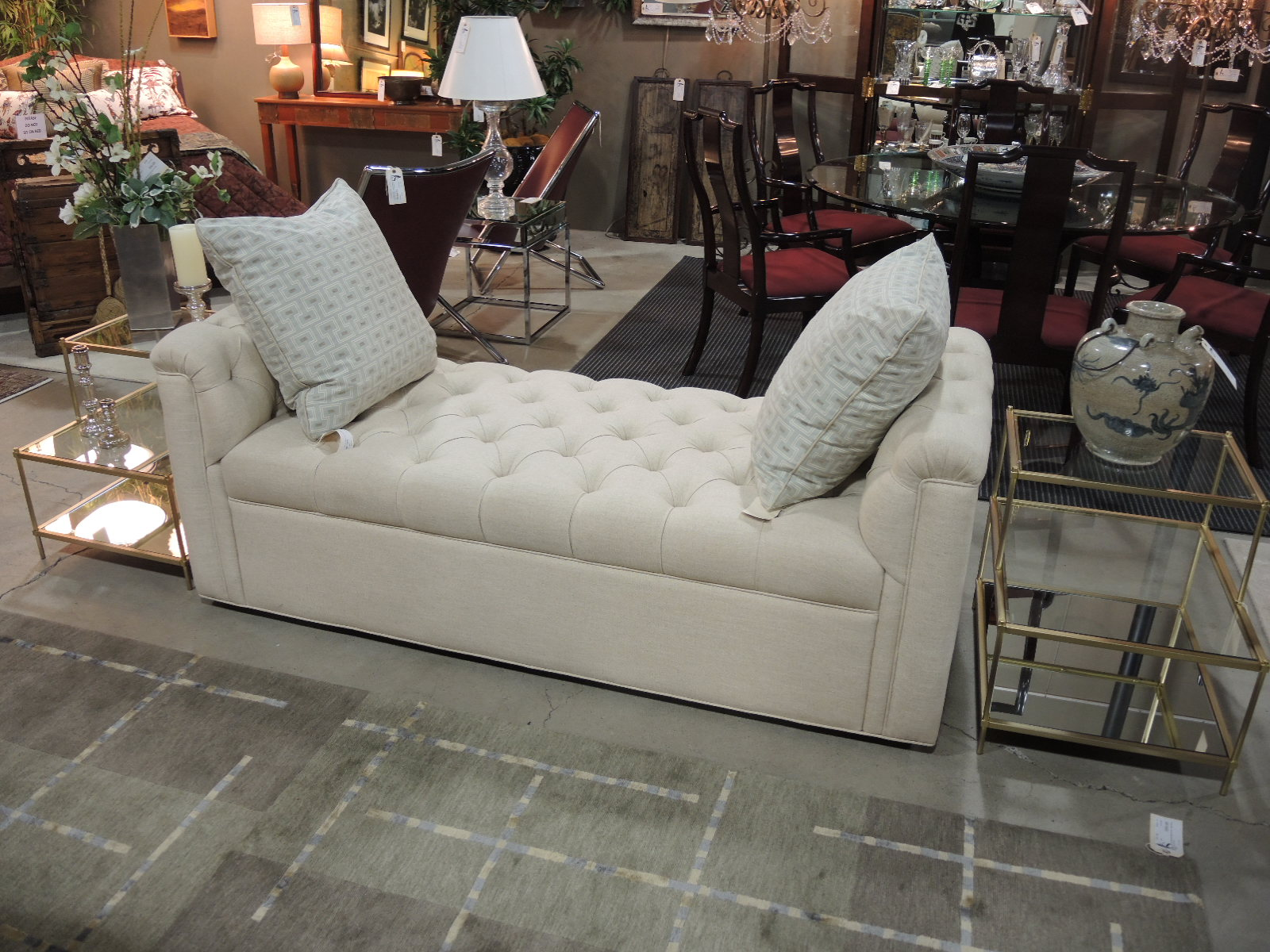 Castellano Button Tufted Chaise Loungeu2013SOLD