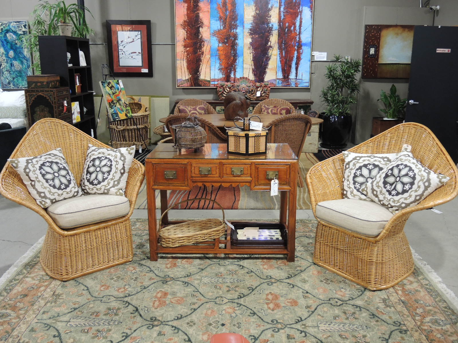 With Its Thick Weave And Natural Color, McGuire Furniture Captures The  Organic Beauty Of Rattan. Here We Have Two Vintage Chairs Designed By  Arthur Elrod ...