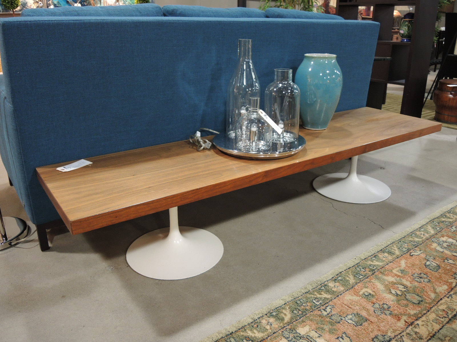 Another Incredibly Unique Piece In Our Showroom Is This Solid Wood Bench  With A Rich Walnut Veneer From The 1950s. Two White, Vintage Saarinen Style  ...