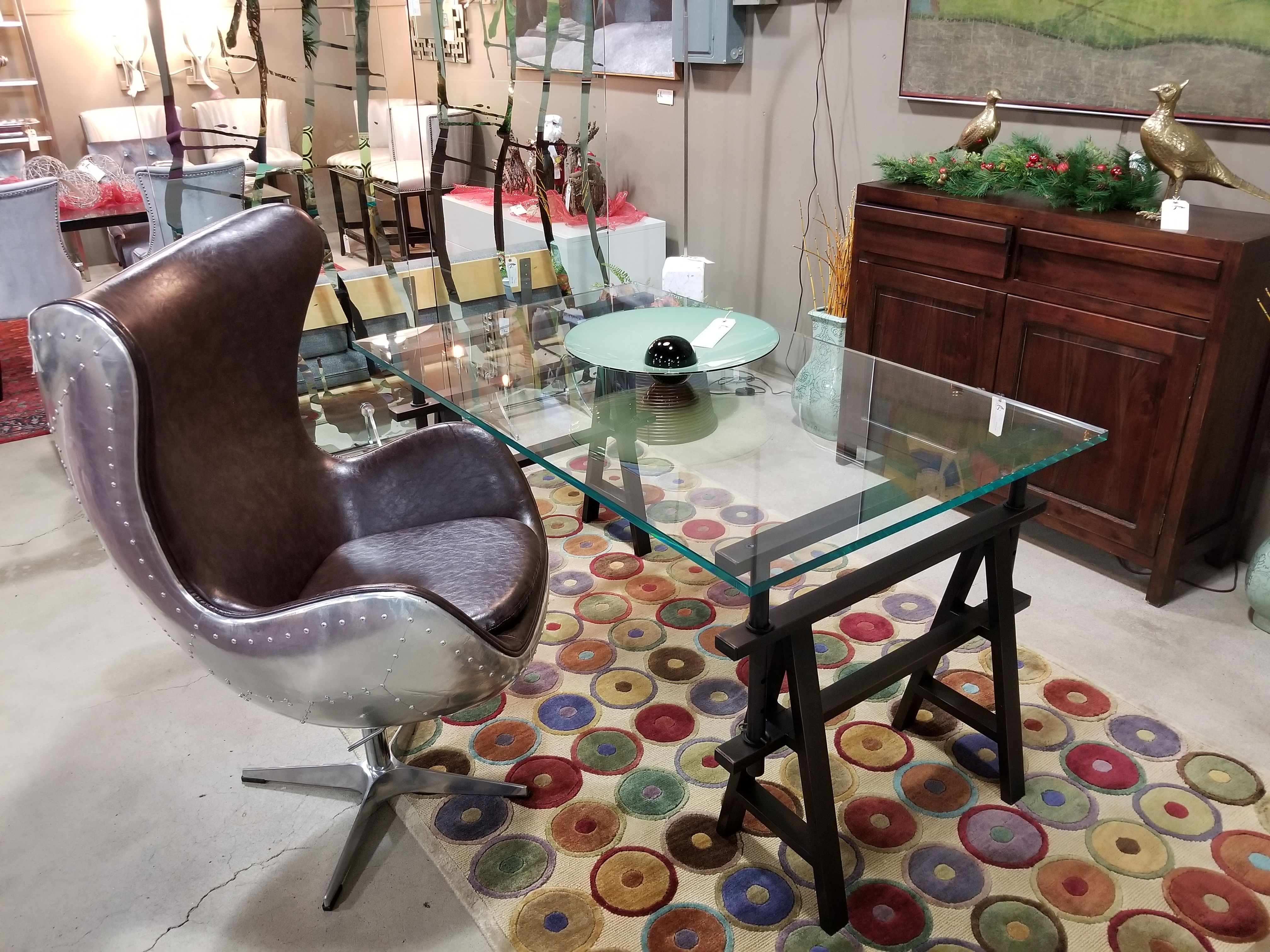Restoration Hardware Industrial Glass Desk With Sawhorse Legs Measures 60u2033W  X 36u2033D X 30u2033H, Priced At $995 U2014 SOLD Aviator Swivel Chair With Brown Faux  ...