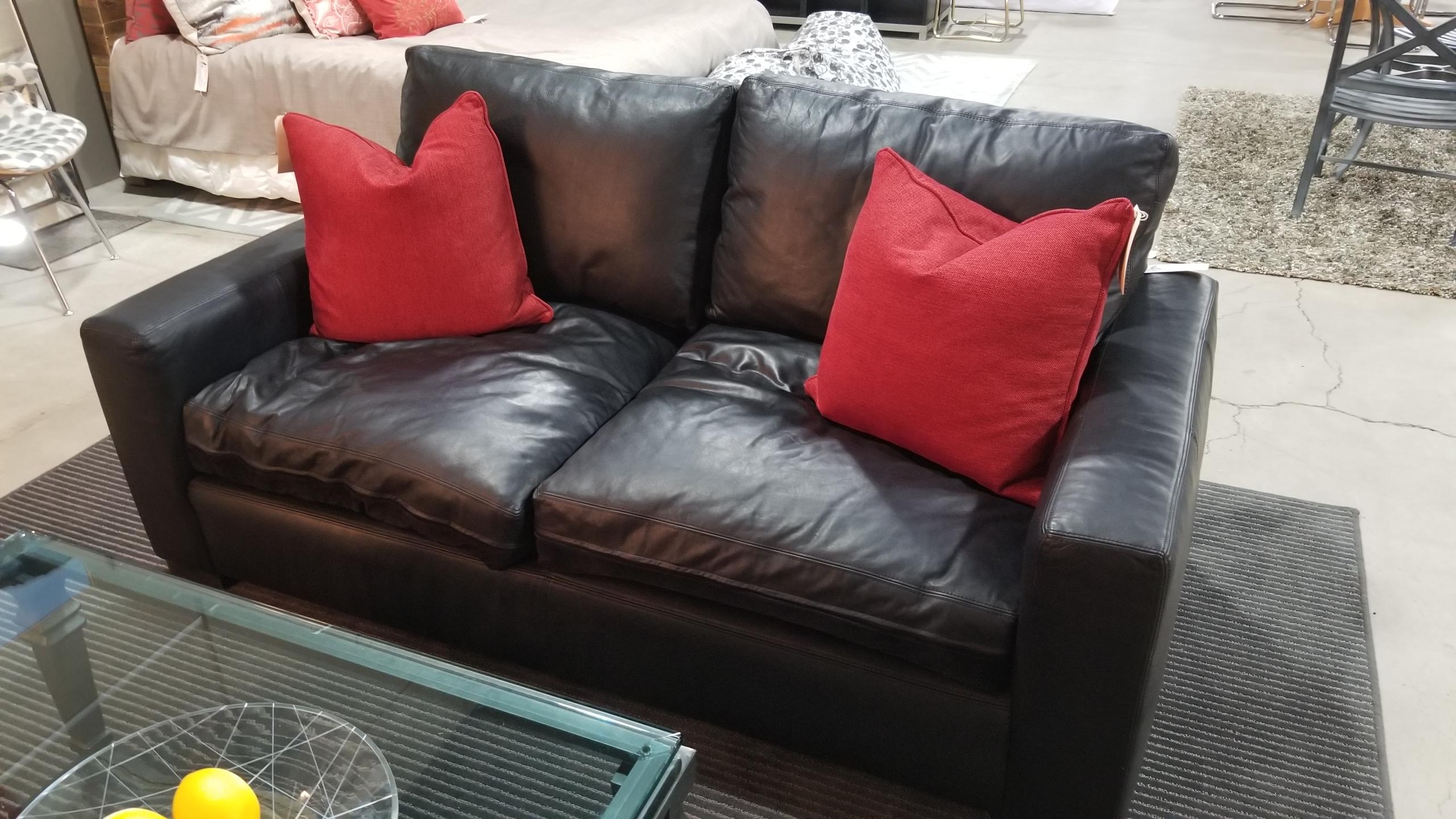 Restoration Hardware U2013 U0027Maxwellu0027 Sofa U2013 Ebony Italian Berkshire Leather U2013  Down Filled U2013 SOLD Measures 72u2033w X 40u2033h X 29 1/2u2033h, Retails For $3321, ...