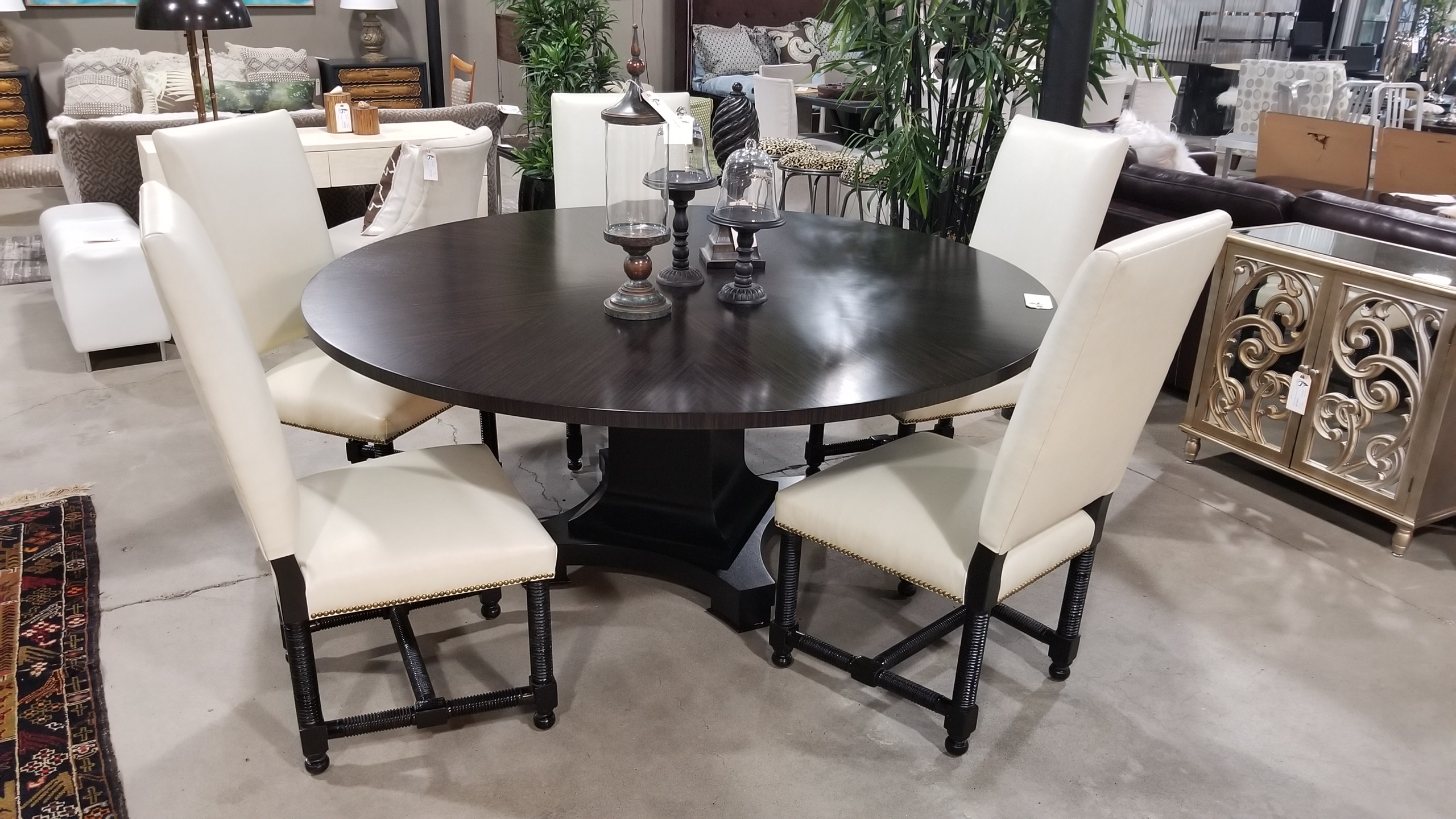 Mike Manion Custom Made Wood Dining Table U2013 Pedestal Base Measures 72u2033w X  30.5u2033h, Priced At $3000. Set Of Five Custom White Leather Side Chairs U2013  Wood ...